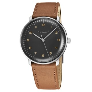 Junghans Men's 027/3401.00 'MaxBill Automatic' Grey Dial Beige Leather Strap Self-Winding Watch
