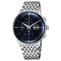 Junghans Men's 027/4528.45 'Meister Chronoscope' Blue Dial Stainless Steel Day Date Chronograph Self-Winding Watch