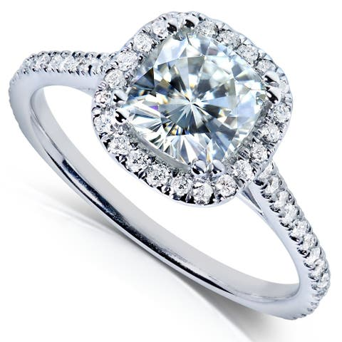 Annello by Kobelli 14k Gold 1 1/3ct TGW Forever One Moissanite and Lab Grown Diamond Halo Engagement Ring (DEF/VS)