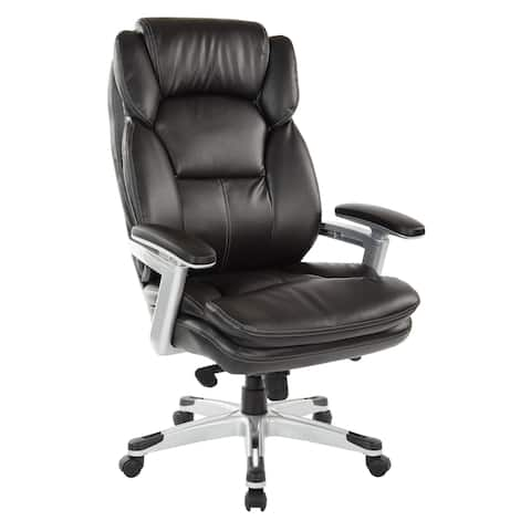 Executive Bonded Leather Chair with PU Padded Arms and Coated Base
