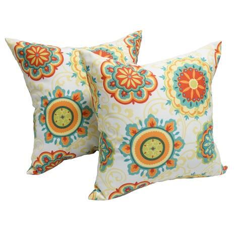 Blazing Needles Farrington Sky Indoor/Outdoor Throw Pillow (Set of 2)