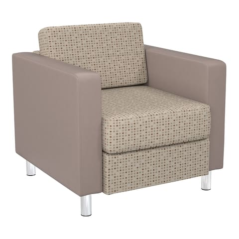 Pacific Club Chair In 2-Tone fabric with Chrome Legs
