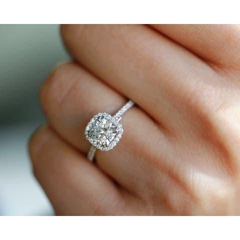 Annello by Kobelli Platinum 1 1/3ct TGW Moissanite and Lab Grown Diamond Halo Engagement Ring (HI/VS, DEF/VS)