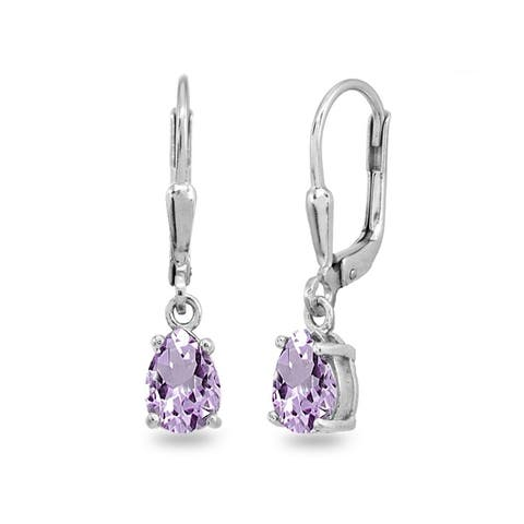 Glitzy Rocks 7x5mm Pear-Cut Genuine Gemstone Teardrop Drop Dangle Sterling Silver Leverback Earrings