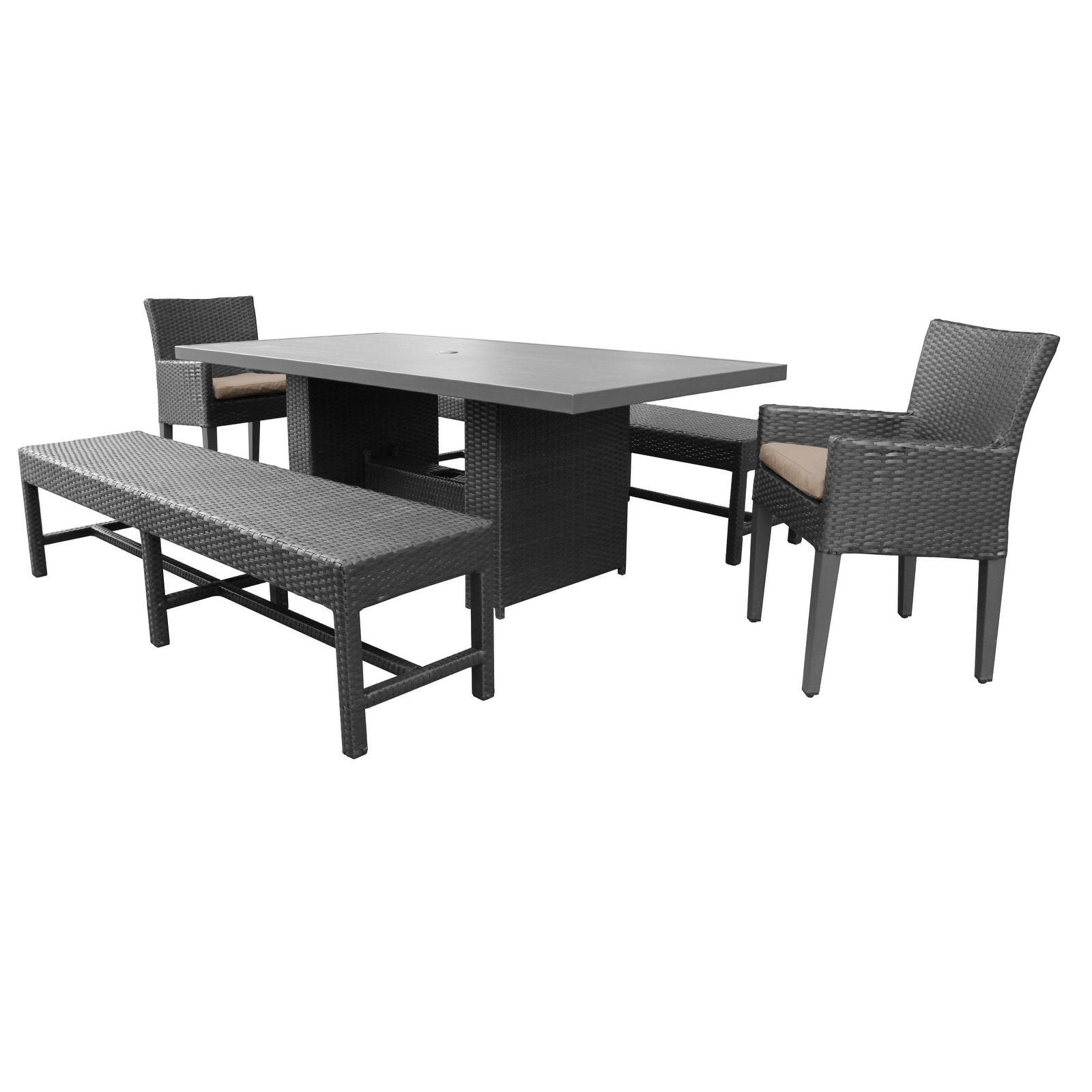 Barbados Rectangular Outdoor Patio Dining Table With 2 Chairs W/ Arms And 2  Benches