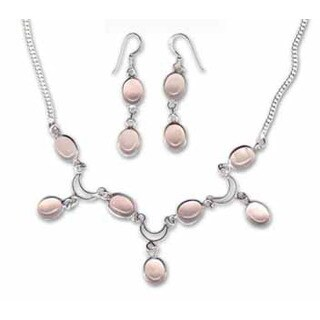 Handmade Rose Quartz Necklace and Earring Set (India)