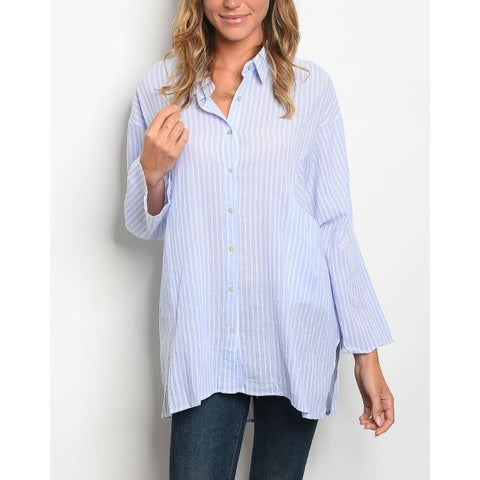 JED Women's Cotton Poplin Relax Fit Button Down Tunic Shirt