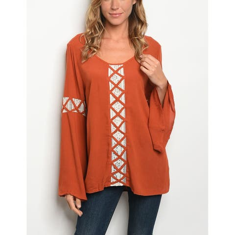 JED Women's Bell Sleeve Scoop Neck Tunic Top