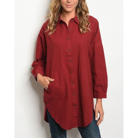 JED Women's Cotton Relax Fit Button Down Tunic Shirt