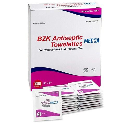 Antibacterial Hand Sanitizer Wipes and Benzalkonium Chloride Swabs (Pack of 200)