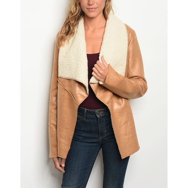 Shop JED Women s Vegan Leather   Shearling Wide Collar Jacket - On Sale -  Free Shipping Today - Overstock.com - 22973612 dcd1a04556df8