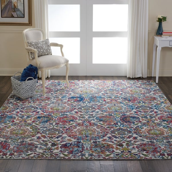 Shop Nourison Global Vintage Ivory Blue Damask Area Rug