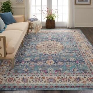 Nourison Vintage Kashan Blue Bohemian Area Rug - 7'10 x 9'10