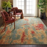"Nourison Somerset Teal/Multicolor Abstract Area Rug - 7'9"" x 10'10"""