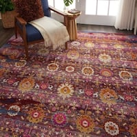 "Nourison Vintage Kashan Red/Multicolor Abstract Area Rug - 7'10"" x 9'10"""