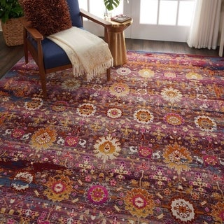 Nourison Vintage Kashan Red/Multicolor Abstract Area Rug - 7'10 x 9'10
