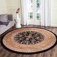 Safavieh Lyndhurst Traditional Oriental Black/ Tan Rug - 8' x 8' Round