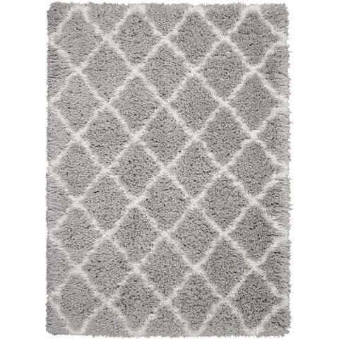 Nourison Ultra Plush Shag Charcoal/Beige Area Rug