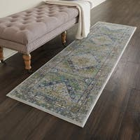 Nourison Global Vintage Blue/Green Traditional Runner Rug - 2' x 6' Runner