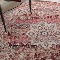 Nourison Vintage Kashan Red Bohemian Round Rug - 4' Round