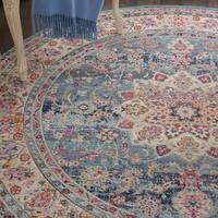Nourison Vintage Kashan Blue Bohemian Round Rug - 6' Round