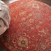 """Nourison Somerset Brick Red  Traditional Area Rug - 5'6"""" Round"""