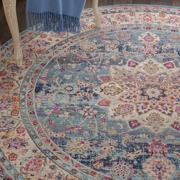 Nourison Vintage Kashan Blue Bohemian Round Rug - 4' Round