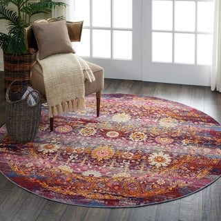 Nourison Vintage Kashan Red/Multicolor Abstract Round Rug - 4'