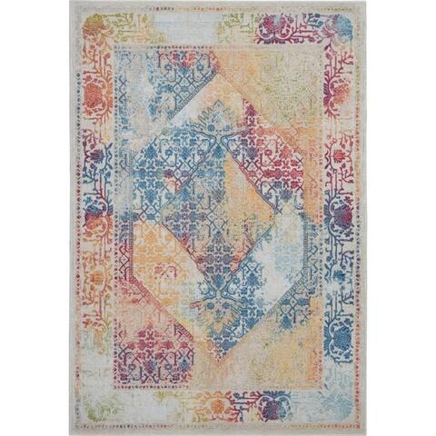 Nourison Global Vintage Blue/Multicolor Bohemian Area Rug