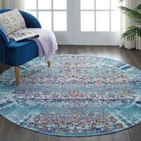 Nourison Vintage Kashan Blue Round Rug - 4' Round