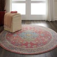 Nourison Global Vintage Multicolor Traditional Round Area Rug - 6' x 6'