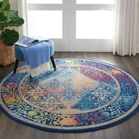 Nourison Global Vintage Blue/Multicolor Bohemian Round Rug - 4'