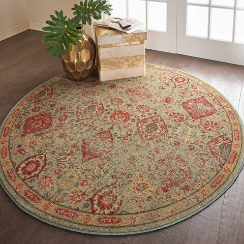 "Nourison Somerset Light Green Vintage Traditional Round Rug - 5'6"" Round"