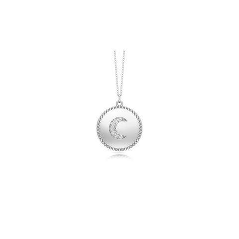 "Noray Designs 14K Gold Diamond (0.05 Ct, G-H Color, SI2-I1 Clarity) Moon Disc Pendant, 18"" Gold Chain"