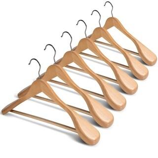 Extra Wide Shoulder Wooden Hangers - Set of 6 - Heavy Duty Coat Hanger Suit, Jacket, Non Slip Bar Pants, Anti-Rust Swivel Hook