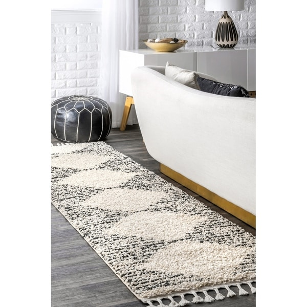 Nuloom Off White Moroccan Boho Chic Aztec Lined Tel Runner Area Rug 2