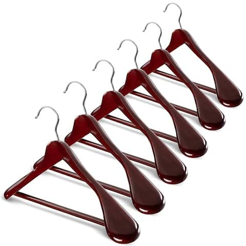 Extra Wide Shoulder Wooden Hangers Heavy Duty Coat Hanger - Set of 6