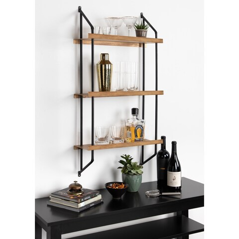 Kate and Laurel Skuza 3-Layer Floating Metal Shelf Unit, Black and Gold - 19.75x7.25x39