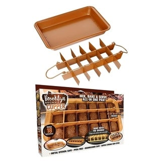 Brooklyn Brownie Copper by Gotham Steel Nonstick Baking Pan with Built-In Slicer, Ensures Perfect Crispy Edges 2 Pack