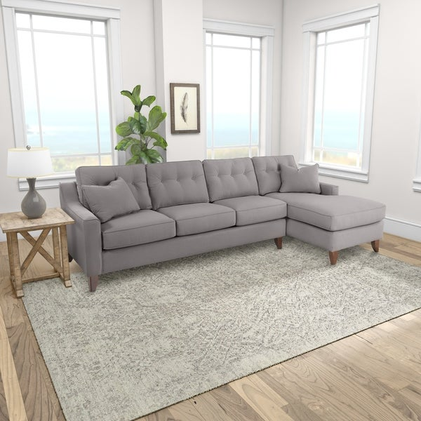 Carson Carrington Baerum Grey Polyester Chaise Sectional