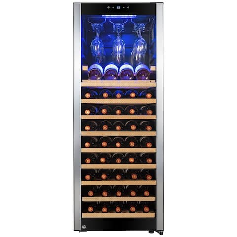 "AKDY 50"" 56-Bottle Touch Panel Single Zone Wire Wood Shelves Freestanding Compressor Key Lock Black Silver Wine Cooler"