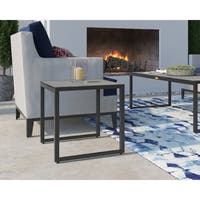 Tommy Hilfiger Hampton Outdoor Side Table with Pebbled Glass