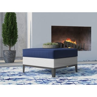 Tommy Hilfiger Hampton Outdoor Ottoman, Coastal White and Navy