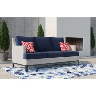 Tommy Hilfiger Hampton Outdoor Mesh Sofa, Coastal White and Navy