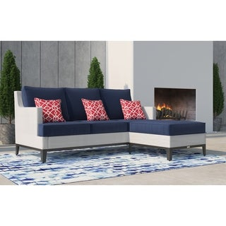 Tommy Hilfiger Hampton Outdoor Mesh Sectional, Coastal White and Navy