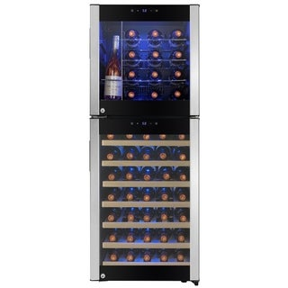 "AKDY 50"" 58-Bottle Touch Panel Dual Zone Wire Wood Shelves Freestanding Compressor Key Lock Black Silver Wine Cooler"