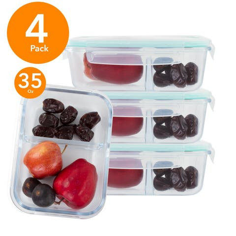 4 Pack Rectangle 35 Oz Glass Meal Prep Container 2 Divider Compartment Snap Locking Lid