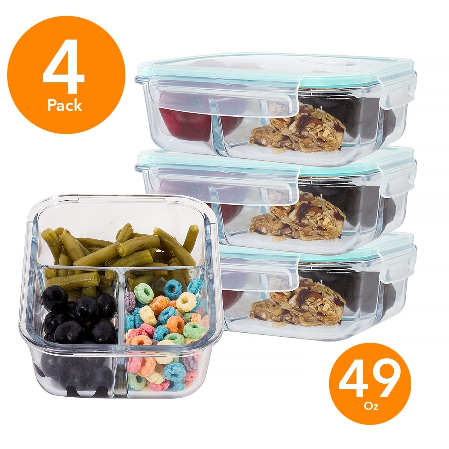 0fef2a5901e1 4 Pack Large 49 Oz Glass Meal Prep Containers 3 Divider Compartment & Snap  Locking Lid
