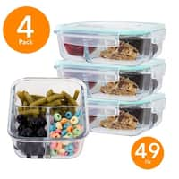 4 Pack Rectangle 49 Oz Glass Meal Prep Container 3 Divider Compartment Snap Locking Lid