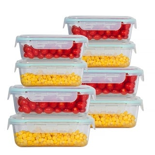 Rectangle 16 Pcs. Glass Meal Prep Storage Containers Set With Snap Locking Lid